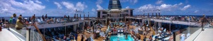 Panorama of a busy deck
