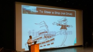 The captain talks about steering