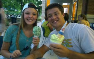 Mint chocolate chip in my daughter's cone, and Lime sherbet in her boyfriend's cup