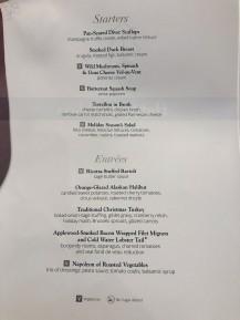 Holiday menu